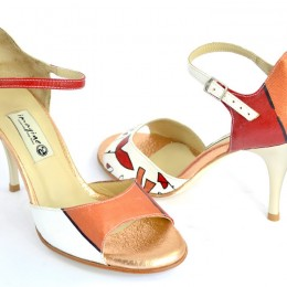 Women Argentine Tango Shoe, hand painted.