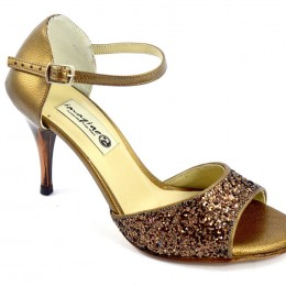 Women Argentine Tango Shoe, by bronze glitter