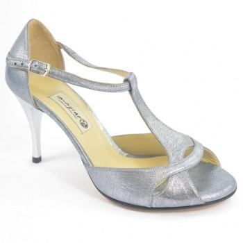 aa11679cbd3 Γυναικείο παπούτσι αργεντίνικου tango peep toe από μαλακό γκρι δέρμα πέρλα