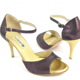 Women Argentine Tango Shoe, by purple and gold soft leather