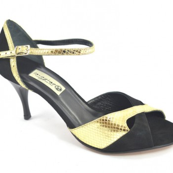 feb2407362c Γυναικείο παπούτσι χορού αργεντίνικου τάνγκο, peep toe από μαύρο σουέτ και  χρυσό μαλακό δέρμα φίδι