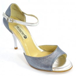 Women Tango shoes, Open Toe in blue-silver pearlized leather and silver leather