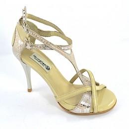 Γυναικείο παπούτσι tango open toe από μαλακό ασημί-ροζ δέρμα φίδι και μπεζ λουστρίνι