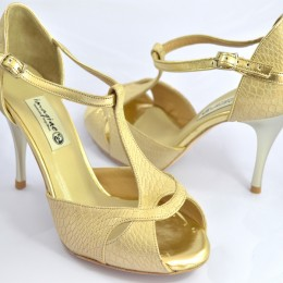 Women's Tango Shoe, peep toe, in gold-beige snake leather and gold leather