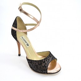 Women Tango shoes, Open Toe in combination of black paisley leather and rose-gold leather