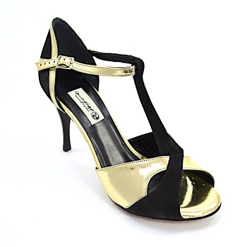 05c0a7b3c07 Γυναικείο παπούτσι tango peep toe από χρυσό δέρμα και μαύρο σουέτ δέρμα