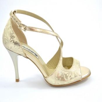 2d11641b437 Γυναικείο παπούτσι χορού αργεντίνικου τάνγκο, σε συνδυασμό από χρυσό δέρμα  και εντυπωσιακό μπεζ σουέτ δέρμα με χρυσά floral σχέδια