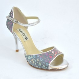 Women's Tango Shoe, open toe style, in grey with colourful dots and silver soft leather