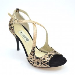 Women Tango shoes, Open Toe in combination of impressive gold-black paisley leather and gold glitter leather