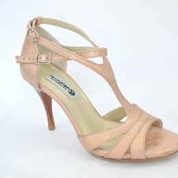 Γυναικείο παπούτσι tango argentino, open toe από μπεζ-ροζ-χρυσό μαλακό δέρμα