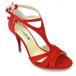 Women Argentine Tango Shoe, in impressive red suede leather