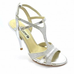 Women Argentine Brand new 2020 Tango shoe, in silver soft leather and silver glitter leather