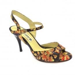 Γυναικείο παπούτσι τάνγκο από φλοράλ μαύρο-χρυσό-κόκκινο δέρμα
