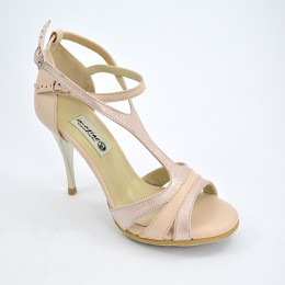 Women Argentine Tango Shoe, by beige-pink soft leather and light pink pearlized leather